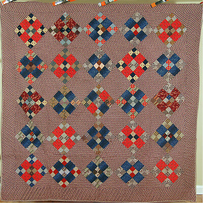 ELEGANT 1880's Vintage 4-Patch 9-Patch Antique Quilt ~GORGEOUS EARLY FABRICS!