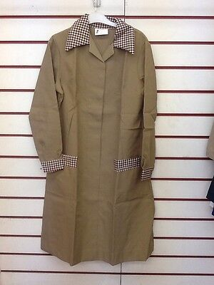 """Ladies Brown Overall Dress With Brown Checked Collar - 38"""" Bust"""