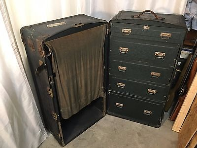 Antique 1900's wardrobe steamer trunk