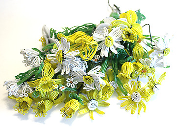 16 Vintage Meduim Stem French Glass Seed Bead Flowers Hand Beaded Yellow White
