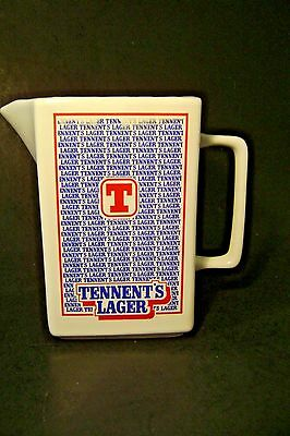 Vintage  Tennent's Lager  Pub  Water  Jug  Pitcher