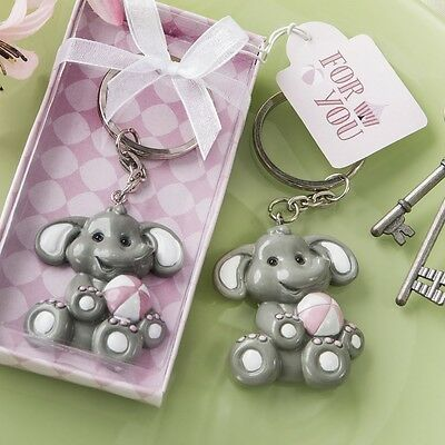 30 Adorable Pink Baby Girl Elephant Key Chain Baby Shower Christening Favors