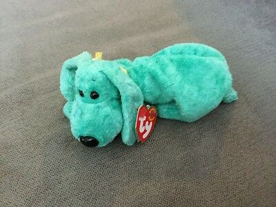 TY Beanie Babies Diddley Green Dog Retired W/ Tags 2001