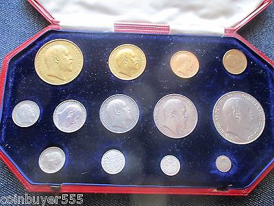 Rare 1902 Proof Long Set, 13 Coins Five Sovereign To Maundy Penny