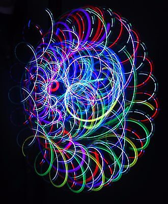 CRYSTAL BLISS - 4-LED Microlight Rave Orbital Trip Toy - LARGE ring grips