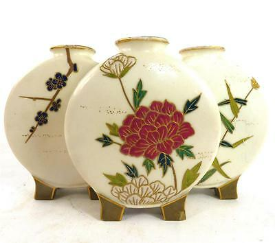 Antique Royal Worcester Tri Form Ivory Porcelain Moon Flask Aesthetic Oriental