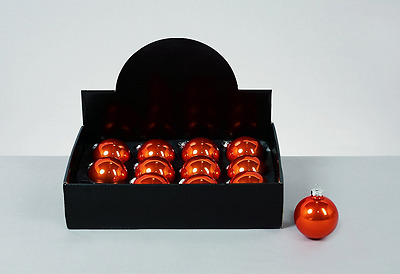 Pack Of 12 - 60mm Pearlised Orange Glass Baubles - Christmas Decor Tree Trimming