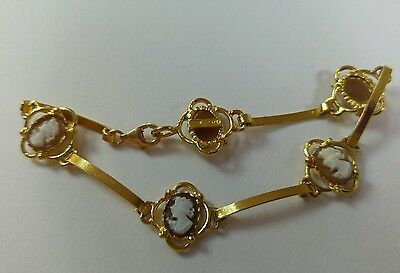 Antique style italian  hand carved shell cameo bracelet Gold Plated Silver