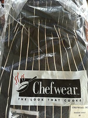 Chefwear Ultimate Chef Pants Black stripe size Medium NEW!