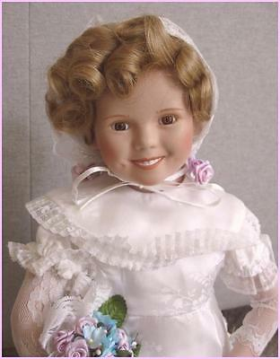 "Danbury Mint SHIRLEY TEMPLE Curly Top Bride 16"" Porcelain Doll, A/O, MINT w/Box!"