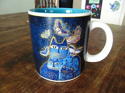 2004 Laurel Burch INDIGO CATS & Butterflies BLUE Wine Things Coffee Mug/Cup