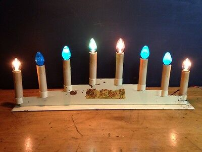 Noma Candlestick Christmas Light Antique Metal Base Works Canada Cream 8 Lights
