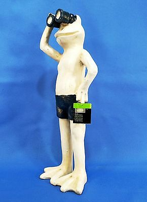 14 inch Tall Beach Frog with Binoculars in Blue Swimming Suit