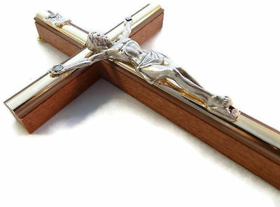 """012#   6,3""""Lovely Wooden Wood Bright Brown Wall Hanging Cross Crucifix"""