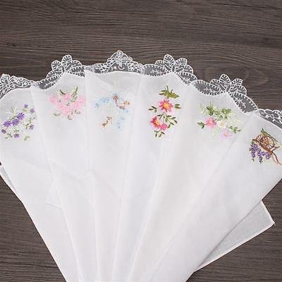 Women's Cotton Handkerchiefs Butterfly Lace Flower Embroidered 6 pcs