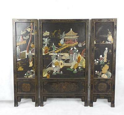 Qing Dynasty Tri-fold Hardstone Screen. High Quality