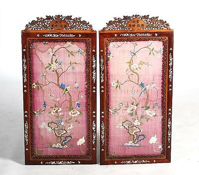 Pair Chinese Qing Dynasty Silk Embroidered Panels  Inlaid Hardwood Frames