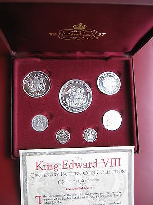 British 1937 King Edward VIII Pattern Silver 7 coin Proof set 3 Pence - Crown