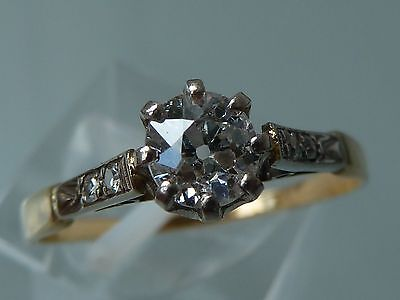 STUNNING 1920's DECO DIAMOND SOLITAIRE RING 18CT GOLD  PLATINUM.54CT- HSL2
