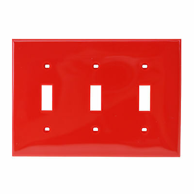 Leviton 80711-R Three-Gang Toggle Switch Face-Plate, Wall-Plate, Glossy Red