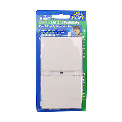 Leviton 89000-W Child Resistant Wall-Plate, Face-Plate, 1-Gang, White