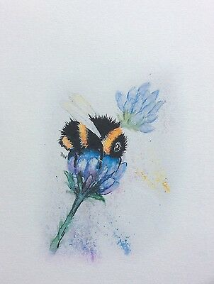 Limited signed print of my original painting A4 bee and lavender