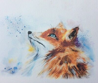 Limited signed print of my original painting A4 Fox