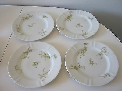"""Antique Pink Floral Syracuse O.P.CO. China 4 Dinner Plates 9 1/8"""""""
