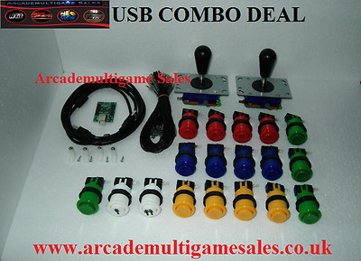 USB Arcade Joystick Controller For PC & PS3 (2 Player Version) BLACK BAT TOP KIT