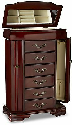 Jewelry Armoire Box Chest Stand Storage Organizer Cabinet Case Necklace Walnut