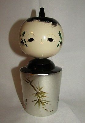 Vtg Japanese Kokeshi Doll Wood Signed Silver Leaf Lacquerware Painted Figurine