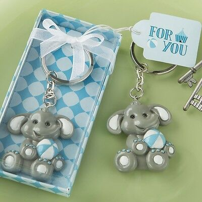 60 Adorable Blue Baby Boy Elephant Key Chain Baby Shower Christening Favors
