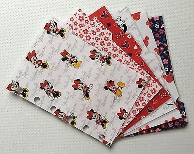 Filofax Pocket Organiser Dividers - Bright Minnie Mouse (x6) - Fully Laminated