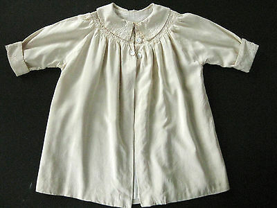 Antique Ivory Silk Child or Doll Coat Jacket w/ Smocking Embroidery Lined Rare