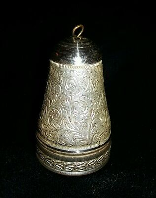 Thimble Holder - Intricately Chased Foliate Detail - White Metal - Lovely