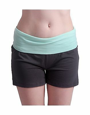 HDE Women's Maternity Yoga Shorts Stretch Pregnancy Shorts Fold Over Waistband.