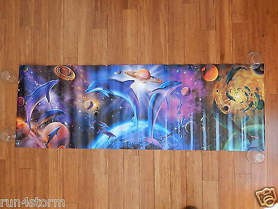 "Colorful Dolphin in Space SCANDECOR 20 ½"" x 61 ½"" Panoramic Poster"