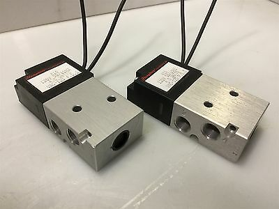 "Lot of 2- Humphrey 410 Pneumatic Electric Solenoid Valve 4-Way 1/8"" NPT 120VAC"