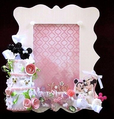 Disney Mickey & Minnie Mouse Wedding Cake Wood Picture Frame Decor Gift