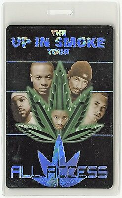 Up In Smoke 2000 tour Laminate Backstage Pass Eminem Snoop Dogg Ice Cube Exzibit