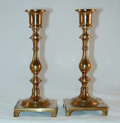 Pair of Vintage Tall Brass Candlestick Holders Square Footed Base & Shaped Stem