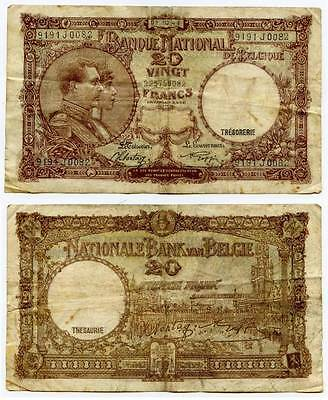 Currency 1941 Belgium 20 Francs Banknote P111 King Albert and Queen Elisabeth VF