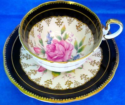 Aynsley Fancy Rich Gold Large Pink Rose Bone China Cup & Saucer 1940s