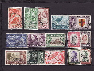 SARAWAK MALAYA 1955 QEII DEFINITIVE STAMPS COMPLETE SET to $5.00 GOOD USED