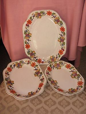 "3 STEUBENVILLE HARVEST PLATTERS 11"" 13"" AND 15"" Vintage Pottery"