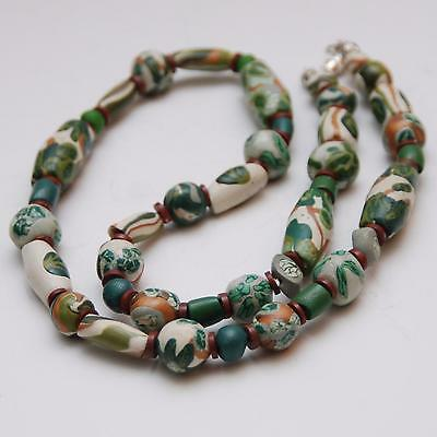 """23 1/2"""" (59.6cm) Long HAND PAINTED African Trade Bead Necklace"""