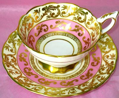 Royal Stafford Gorgeous Rich Heavy Gold Pink Bone China Cup & Saucer MINT