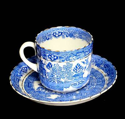 Vintage Royal Stafford china blue & white willow pattern teacup and saucer