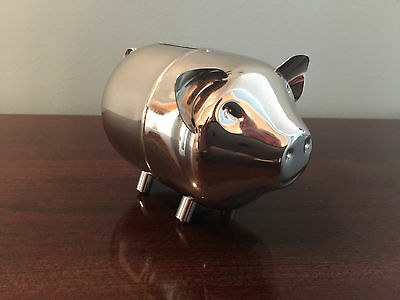 Vintage Baby Piggy Coin Bank Silver Plated Pig Comes Apart w Screw