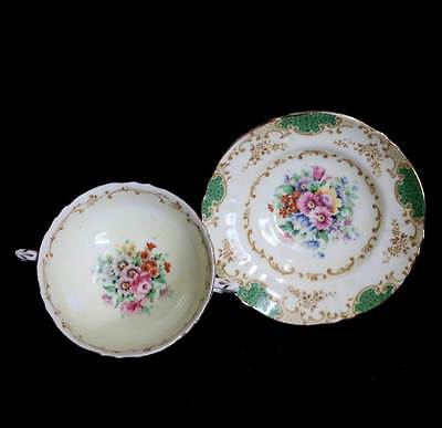 Vintage 1930s Crown Staffordshire pretty soup coupe in lemon & green